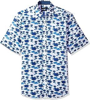 Bugatchi Men's Slim Fit Palm Print Long Sleeve Point Collar Shirt