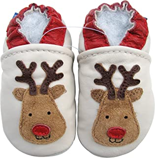 Carozoo Baby Boys' Red Nose Reindeer Soft Sole Leather Shoes