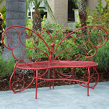 Alpine Corporation BAZ400RD Alpine Butterfly Metal Two People Outdoor Bench, Red