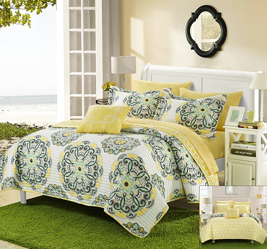 Perfect Home 4 Piece Madarcos Super soft microfiber Large Printed Medallion Reversible with Geometric Printed Backing Quilt and Shams set, Queen, Yellow
