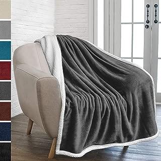 PAVILIA Premium Sherpa Fleece Throw Blanket | Soft, Plush, Fuzzy Dark Grey Throw | Reversible Warm Cozy Microfiber Solid Blanket for Couch Sofa (Charcoal, 50x60 Inches)