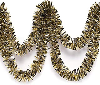 Black, Silver, and Gold Metallic Tinsel Twist Garland 4 inches Wide x 25 ft Long