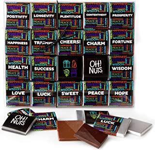 Oh Nuts Merry Christmas Best Wishes Chocolate Truffle Gift Box | 20 Blessings Wrapped Gourmet Chocolates Set, Holiday Food for Men Women & Families Prime Baskets Gifts Ideas, Thanksgiving Day Delivery