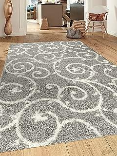 Cozy Contemporary Scroll L.Grey-White 7'10