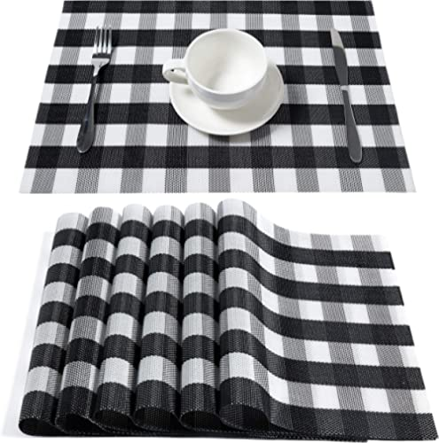 DOLOPL Buffalo Check Black and White Placemats Crossweave Woven Vinyl Table Mats Spring Placemat Set of 6 Easy to Cle...
