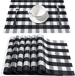 DOLOPL Buffalo Check Christmas Placemats, Table Mats,Placemat Set of 6 Non-Slip Washable Place Mats,Heat Resistant Kitchen Tablemats for Dining Table (Black and White Buffalo Check)