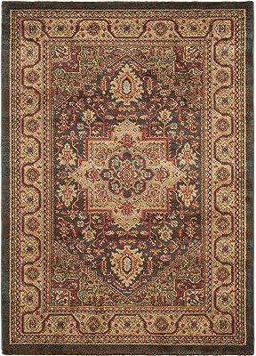 Tapis rectangulaire d'intérieur traditionnel tissé , collection Mahal, MAH656, en bleu marine / beige, 122 X 170 cm pour le salon, la chambre ou tout autre espace intérieur par SAFAVIEH.
