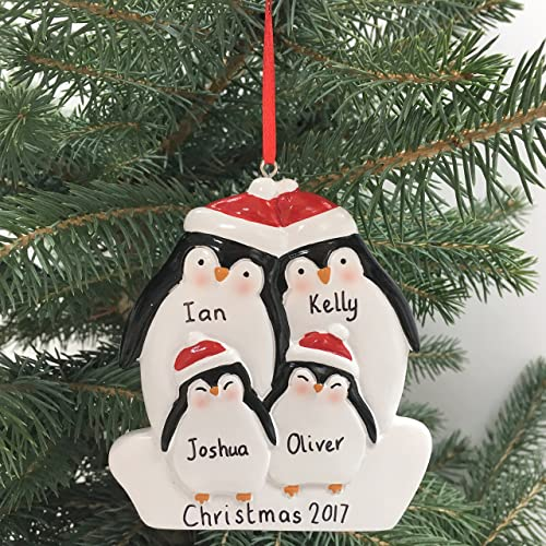 Personalised Penguin Christmas Decoration For Family of Four - Family  Bauble - Xmas Ornament - Any - Personalised Christmas Ornaments: Amazon.co.uk