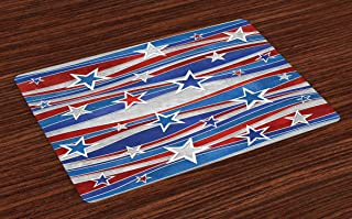 Ambesonne Rustic Place Mats Set of 4, Abstract Design Pattern of Patriotic American Flag USA National Image, Washable Fabric Placemats for Dining Table, Standard Size, Red Blue