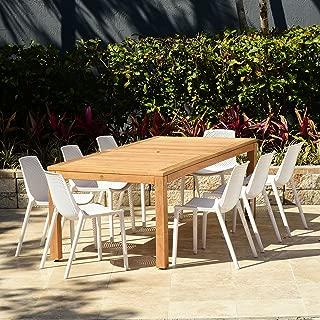 Amazonia Teak Rectangular Miami Patio Dining Set, 9 Piece White