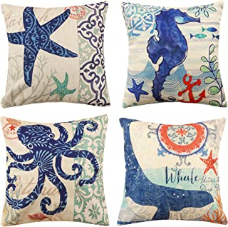 Famibay Set of 4 Ocean Park Theme Pillow Covers Square Decorative Cotton Linen Throw Pillow Cases Mediterranean style Cushion Cover Set for Bedroom Sofa Car 18
