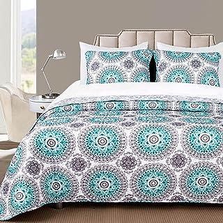DriftAway 7 Piece Bed in A Bag Bella Reversible Quilt Set All Season Light Weight Soft Prewashed Bedding Set Aqua Gray Queen