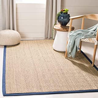 Safavieh Natural Fiber Collection NF115E Herringbone Natural and Blue Seagrass Area Rug (9' x 12')