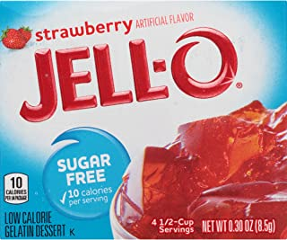 JELL-O Strawberry Sugar Free Gelatin Dessert Mix (0.30 oz Boxes, Pack of 6)