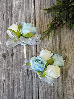 Abbie Home Prom Rose Corsage Boutonniere Set Real Touch Flowers for Party Ball Dancing Wedding with Lace Bow Décor (Baby Blue+White)