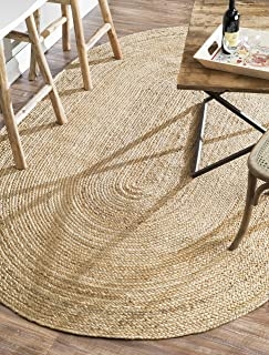 nuLOOM Rigo Hand Woven Jute Rug, 4' x 6' Oval, Natural