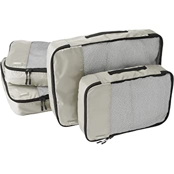AmazonBasics 4 Piece Packing Travel Organizer Cubes Set - 2 Medium and 2 Large, Grey