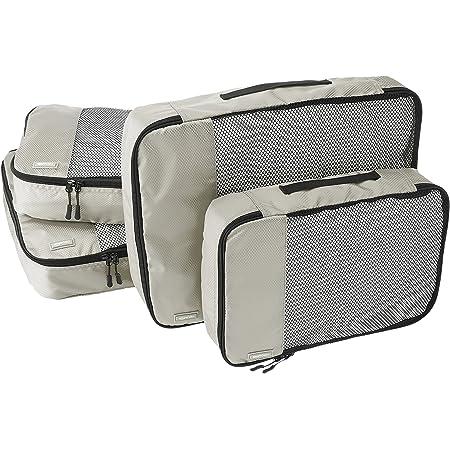 Amazon Basics Lot de 4sacoches de rangement pour bagage 2xTailleM/2xTailleL, Gris