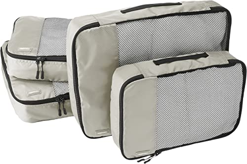 AmazonBasics Packing Cubes/Travel Pouch/Travel Organizer - 2 Medium and 2 Large, Gray (4-Piece Set)