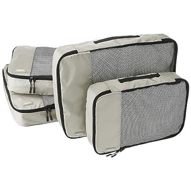 AmazonBasics 4 Piece Packing Travel Organizer Cubes Set - 2 Medium and 2 Large, Grey