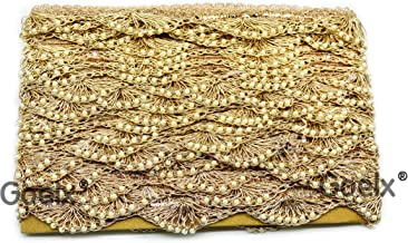 Pankh Border Original Handmade Moti Pearl Bead Embellished Lace for Dresses, Sarees, Suits, Blouses, Dupattas, Bags, Bed Covers, Art & Craft in Golden Colors Pack of 9 Mtrs/ 9.5 Yard