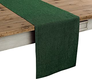 Solino Home 100% Pure Linen Table Runner – 14 x 108 Inch Athena, Handcrafted from European Flax, Natural Fabric Runner – Forest Green