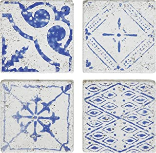 Creative Co-op Blue & White Square Cement Tile Coasters (Set of 4 Pieces)