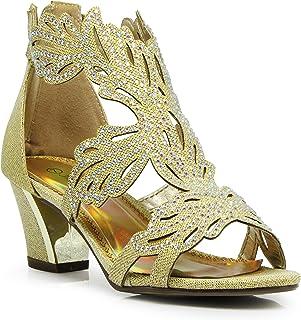 Enzo Romeo Lime03N Womens Open Toe Mid Heel Wedding Rhinestone Gladiator Sandal Wedge Shoes