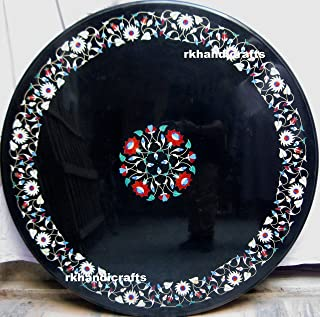 Marble Black Dining Table Top Inlay Work with Flowers Pattern Sofa Table Elegant Home Furniture 60 Inches