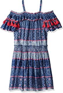 Ella Moss Girls' Big Tile Print Crinkle Gauze Dress