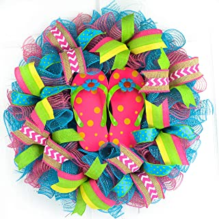 Pink Summer spring flip flop welcome deco mesh wreath; turquoise lime green yellow