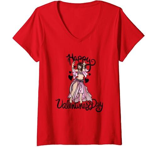 Womens Happy Valentine's Day V Neck T Shirt