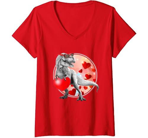 Womens I Steal Hearts Lovesaurus Valentines Day T Rex Dinosaur V Neck T Shirt