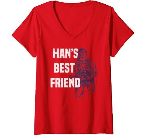 Womens Star Wars Chewbacca Han's Best Friend V Neck T Shirt
