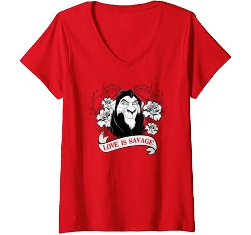 Womens Disney Villains Valentines Scar Love Is Savage V Neck T Shirt