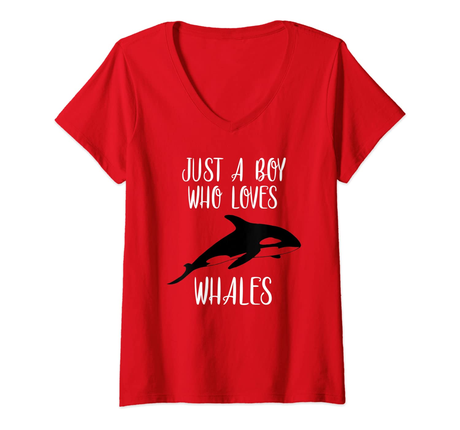 Womens Just A Boy Who Loves Whales Killer Whale Orca Gift V-Neck T-Shirt-ANZ