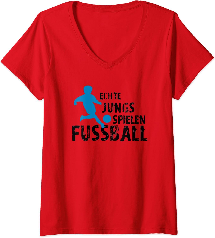 Damen Echte Jungs spielen Fussball T-Shirt mit V