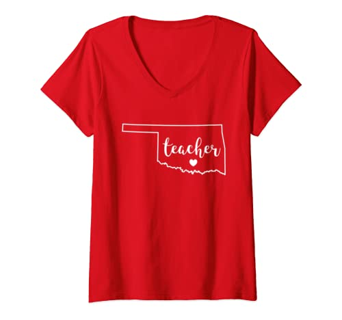 Womens Teacher Red For Ed Oklahoma Public Education V Neck T Shirt