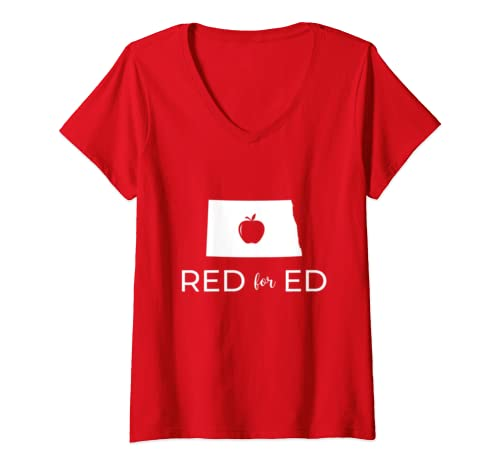 Womens Teacher Red For Ed North Dakota Public Education V Neck T Shirt