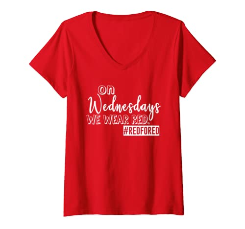 Womens On Wednesdays We Wear Red   Red For Ed Teacher Supporter V Neck T Shirt