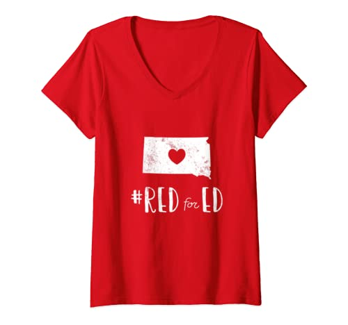 Womens Teacher Red For Ed South Dakota Public Education V Neck T Shirt