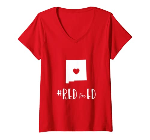 Womens Teacher Red For Ed New Mexico Public Education V Neck T Shirt