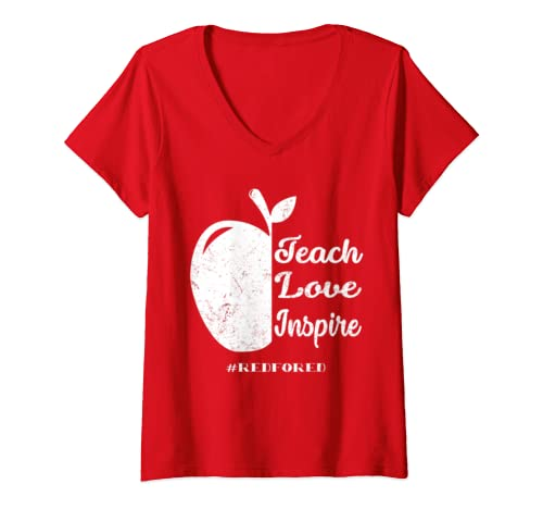 Womens Teach Love Inspire Teacher Protest Supporter Red For Ed V Neck T Shirt