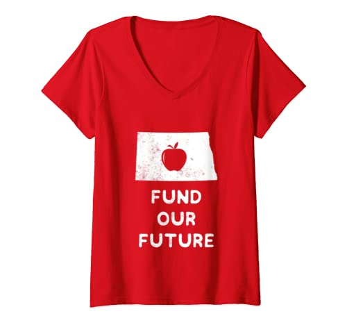 Womens Fund Our Future Teacher Red For Ed North Dakota V Neck T Shirt