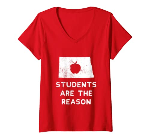 Womens Students Are The Reason Teacher Red For Ed North Dakota V Neck T Shirt