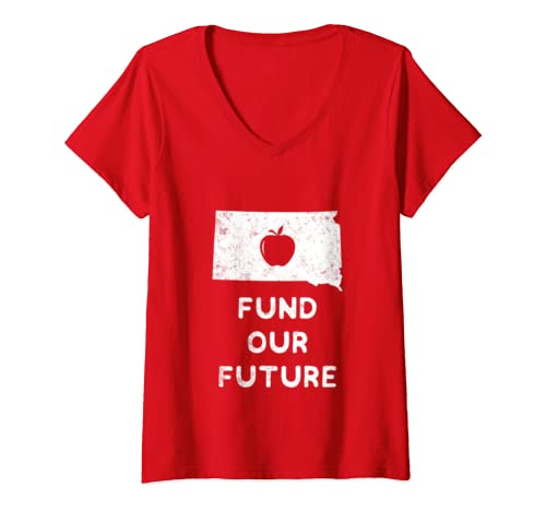 Womens Teacher Red For Ed South Dakota Fund Our Future  V Neck T Shirt