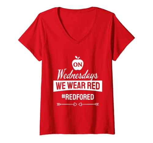 Womens Red For Ed   On Wednesdays We Wear Red Teacher Support Gift V Neck T Shirt