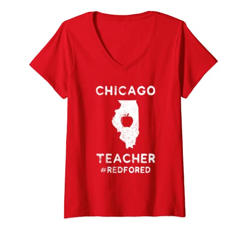 Womens Teacher Red For Ed Chicago Public Education V Neck T Shirt