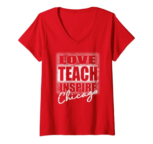 Womens Chicago Teachers Strike Red For Ed V Neck T Shirt