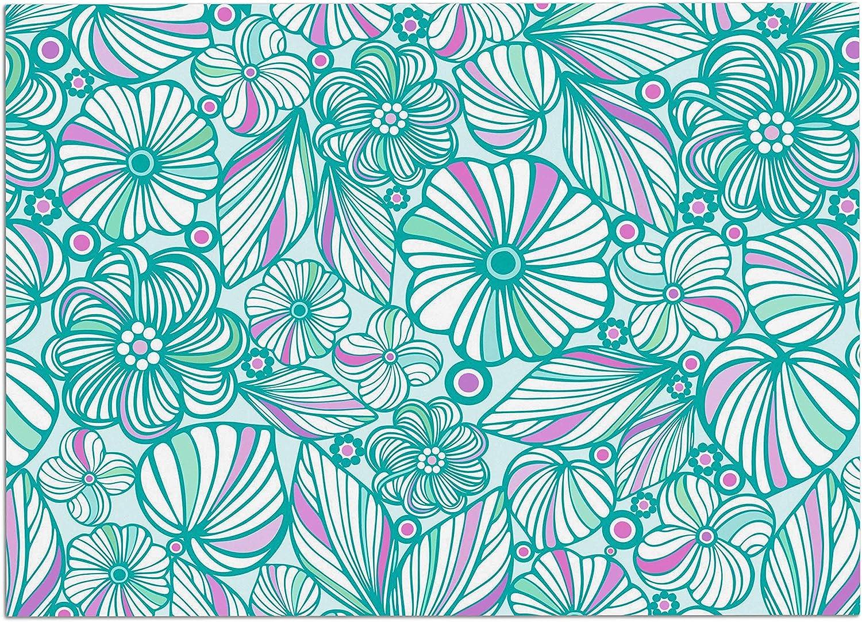 KESS InHouse JG1063ADM02 Julia Grifol My Turquoise Flowers Teal Pink Dog Place Mat, 24  x 15